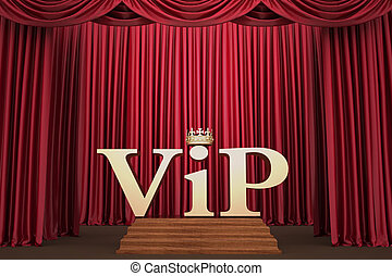 VIP on pedestal on the scene