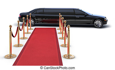 A Limousine�Pulling up to a red carpet runway on white