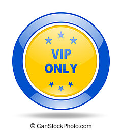 vip only blue and yellow web glossy round icon