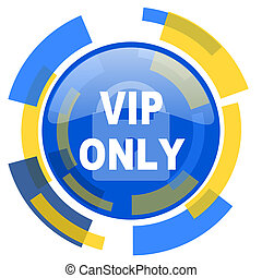 vip only blue yellow glossy web icon
