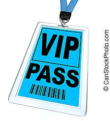VIP Pass - Lanyard and Badge - A blue badge and lanyard...