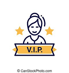 VIP person - modern vector single line icon
