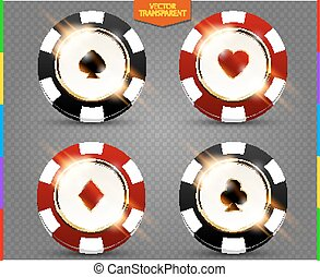 VIP poker black and red chip vector collection. Casino spades, hearts, phillips, diamonds suit set isolated on transparent background