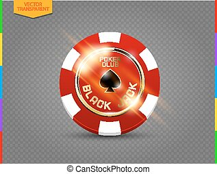 VIP poker red and white chip with light effect vector. Black jack poker club casino spades emblem isolated on transparent background
