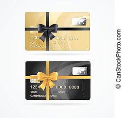 Vip Present Plastic Cards Set. Vector