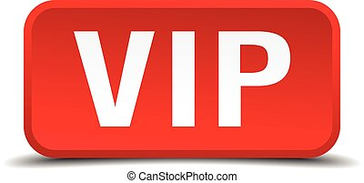 Vip red 3d square button isolated on white