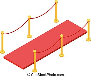 Vip red carpet barrier icon, isometric style