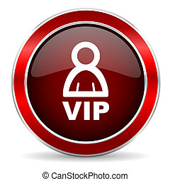 vip red circle glossy web icon, round button with metallic border