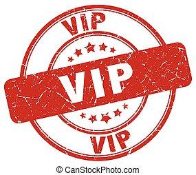 vip red grunge round vintage rubber stamp