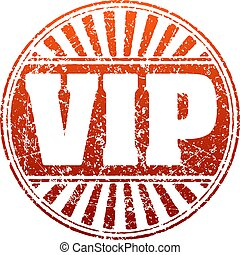VIP red grunge style rubber stamp with rays.
