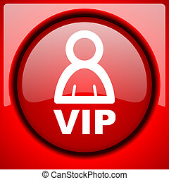 vip red icon plastic glossy button