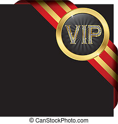Vip red label with diamonds and gold ribbons
