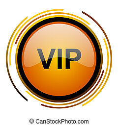 vip round design orange glossy web icon