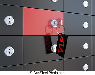 VIP safety deposit boxes and key in the keyhole