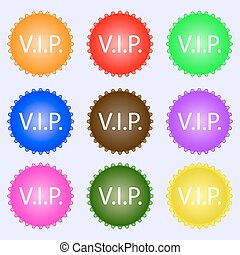 Vip sign icon. Membership symbol. Very important person. A set of nine different colored labels. Vector illustration
