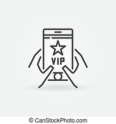 VIP Smartphone in hands vector outline icon