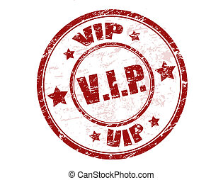 Red grunge rubber stamp with the word vip written inside the stamp