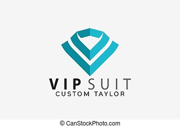 Vip Suit Custom Taylor Logo Design Vector Illustration