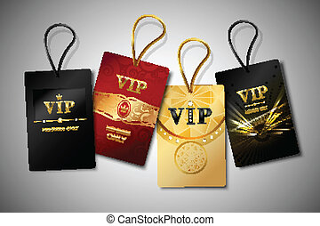 Vip red black and golden premium club tags set isolated vector illustration.