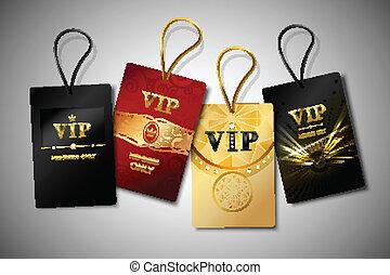 Vip tags design set - Vip red black and golden premium club...