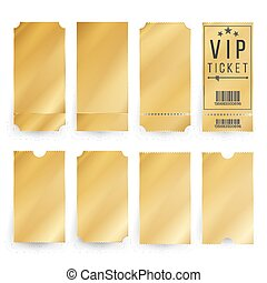 Vip Ticket Template Vector. Empty Golden Tickets And Coupons Blank. Isolated Illustration.