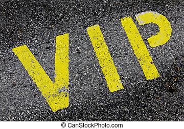 vip, tjeneste, symbol, hos, en, første sortering, forbeholden parkering, hos, en, blank, område, by, text.