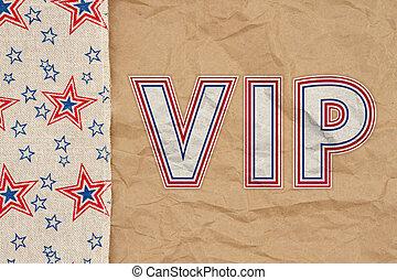 VIP type message with retro USA star burlap ribbon