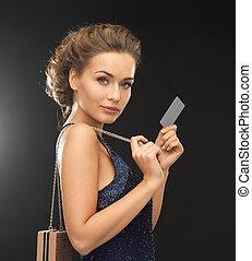 vip, vestido noite, cartão, mulher