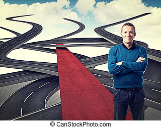 vip way - happy man on red carpet with streets background