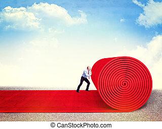 vip way - man roll huge red carpet