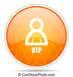 Vip web icon. Round orange glossy internet button for webdesign.