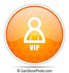 Vip web icon. Round orange glossy internet button for webdesign.
