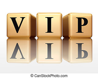 VIP with reflection - VIP - golden boxes with black letters...