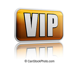 VIP with reflection - VIP ? isolated golden banner with...