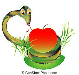 vipera, noha, egy, piros alma