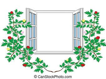 virág, ábra, példa, ablak, vektor, nyílik