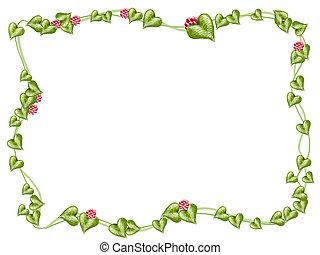 virág, és, szőlőtőke, keret