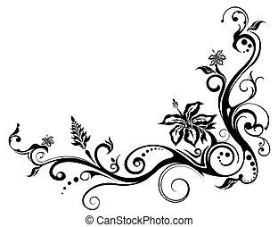 virág, és, szőlőtőke, motívum