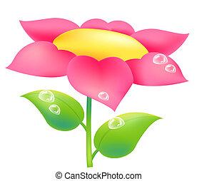 virág, és, víz letesz