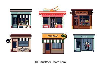 virág, bolt, állhatatos, krém, butik, kisállat, ábra, könyvesbolt, vektor, kávéház, homlokzatok, háttér, különféle, bevásárol, fehér, jég