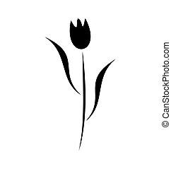 virág, fekete, ábra, elem