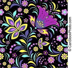 virág, fekete, színes, háttér