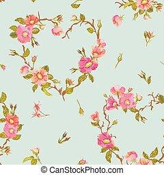 virág, háttér, -, seamless, virágos, kopott, sikk, motívum,...