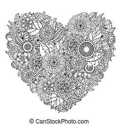 virág, kéz, mandala., fekete, white., zentangle, rajz, element.