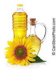 virág, köcsög, napraforgó, elszigetelt, olaj, palack