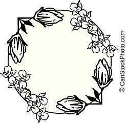 virág, keret, vektor, fekete, retro, fehér, style.