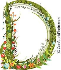 virág, kivirul, dekoratív, botanikai, finom, alphabet levél,...