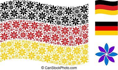 virág, kollázs, részlet, elvont, lenget lobogó, németország