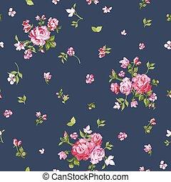virág, kopott, motívum, -, seamless, vektor, háttér,...