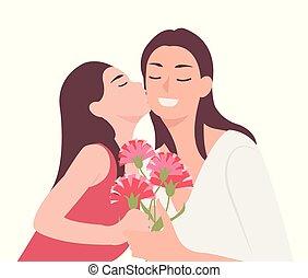 virág, lány, anyu, neki, anyák, odaad, emberek, betű, karikatúra, tervezés, szegfű, gyermek, csókolózás, nap, ajándék, boldog